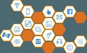 Twilio Aktie investieren - Wabenstruktur mit verschiedenen Symbolen der Online Kommunikation
