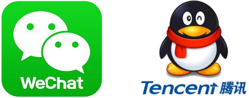 Tencent Aktie - Firmenlogos von zwei Unternehmen von Tencent
