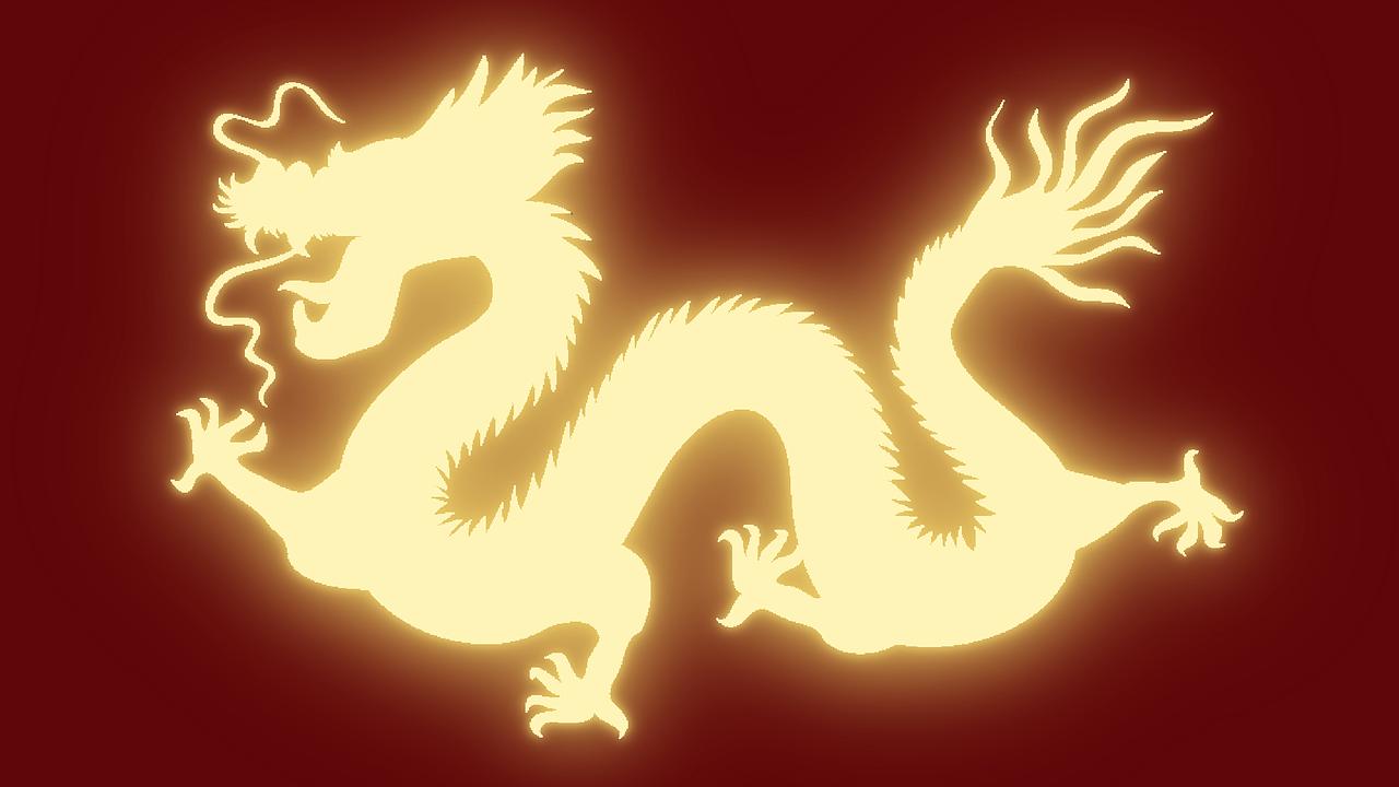 Alibaba Aktie investieren - Ein gelb leuchtender Drache als Symbol von China