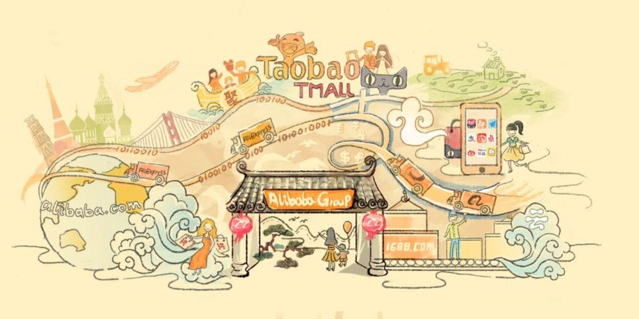 Alibaba investieren - Illustration eines Freizeitparks der Alibaba Group mit vielen verschiedenen Attraktionen
