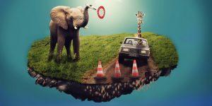 Hortonworks Aktie investieren - Elefant mit Stop Schild und Giraffe im Auto auf einer fliegnden Insel