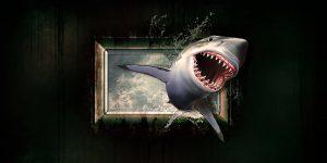 MongoDB Aktie investieren - Hai springt aus Bilderrahmen