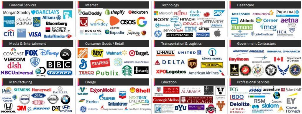 Pluralsight Aktie - Übersicht aller Kunden in verschiedenen Industrien wie zum Beispiel Healthcare und Energie