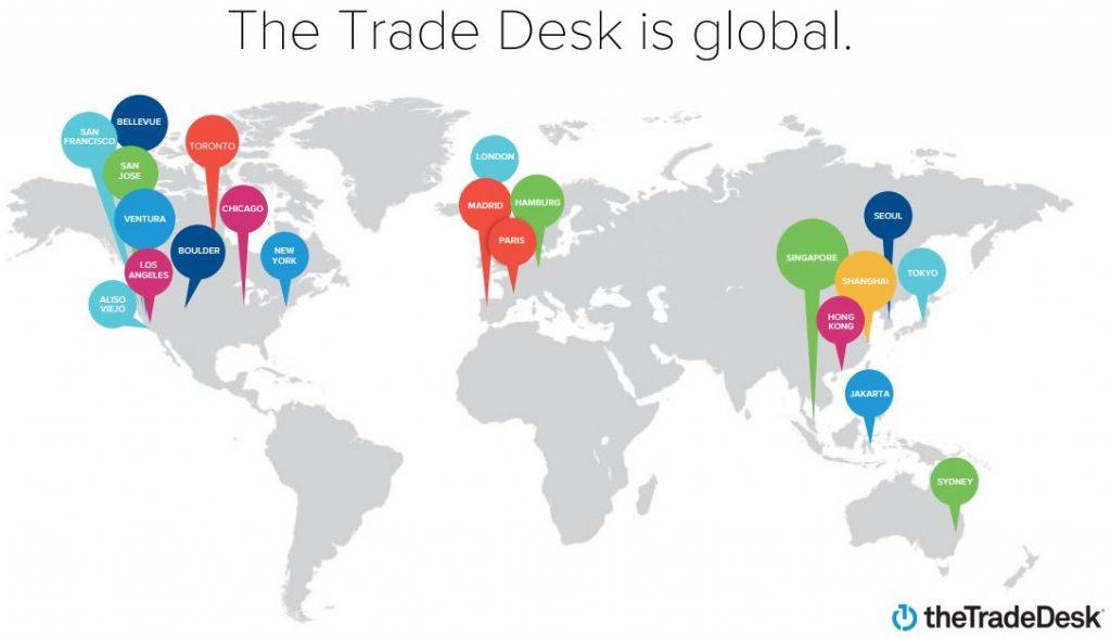 The Trade Desk Zahlen 2018 - Weltkarte mit den Standorten des Unternehmens weltweit