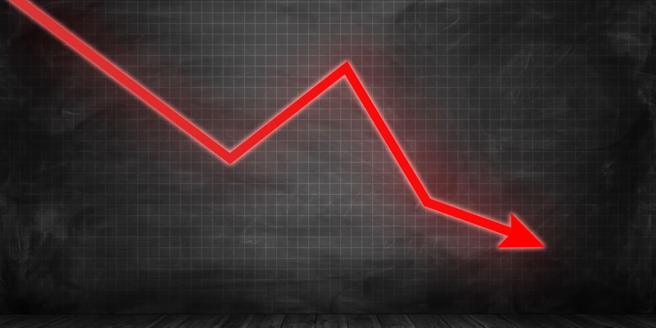 SailPoint Aktie Crash Kurssturz - Bild von rotem Kursverlauf nach unten
