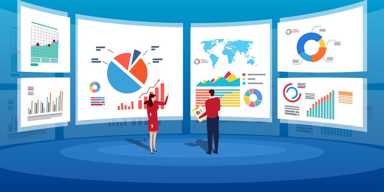 3 Gründe für den Höhenflug der Alteryx Aktie - Datenanalyse auf Bildschirmen Illustration
