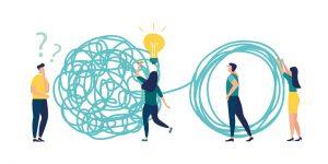 Entwirrung von Bookings, Billings und Revenues - Illustration mit Menschen die Knoten lösen