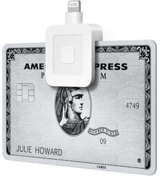 Square Aktie - Kartenlesegerät mit American Express Karte