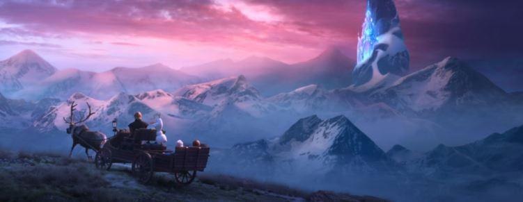 Frozen 2 Bild mit Bergen und Kutsche