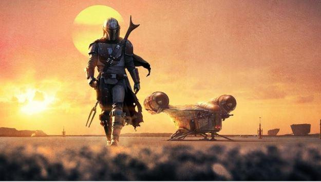 The Mandalorian Star Wars Serie - Soldat und Raumschiff