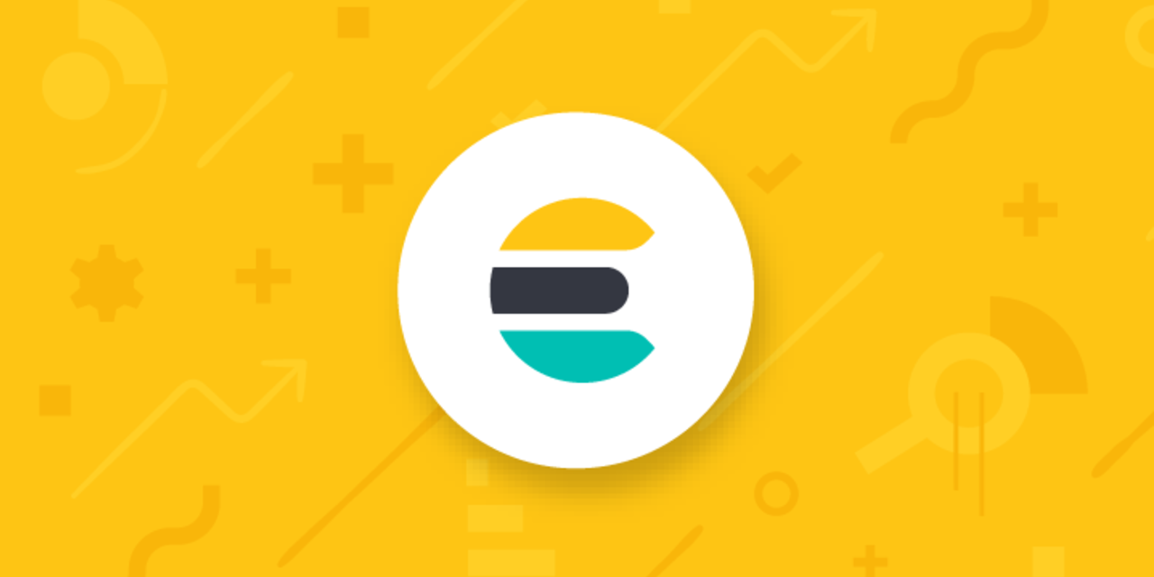 Elastic Aktie Kurssturz Quartalszahlen Q2 FY2020 - Elasticsearch Logo vor gelbem Hintergrund