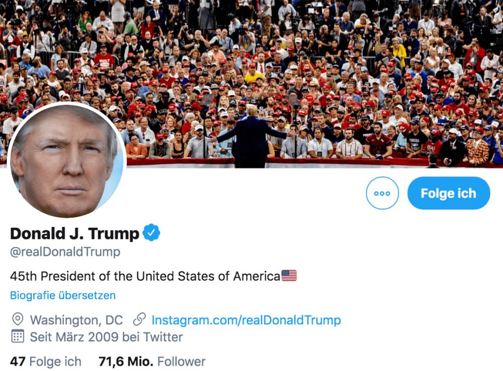 Twitter Aktie - Profil Donald Trump auf Twitter