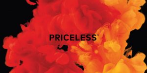 MasterCard Aktie - Priceless mit Hintergrund in MasterCard Farben rot und orange
