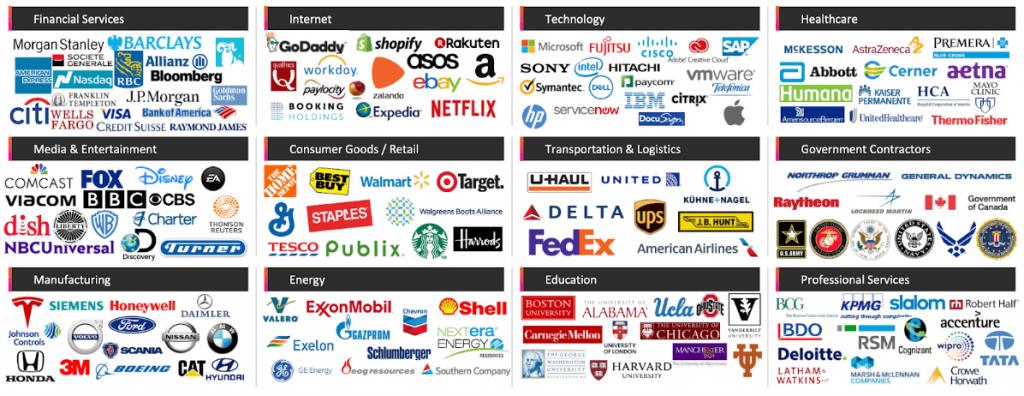 Überischt der Pluralsight Kunden aus diversen Branchen