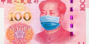 Corona-Crash an den Aktienmärkten - Bild von 100 Yuan Geldschein Mao mit Mundschutz