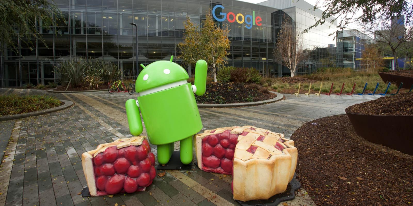 Alphabet-Zahlen – Drei wichtige Botschaften für Anleger - Android Figur mit Kuchen vor Google HQ