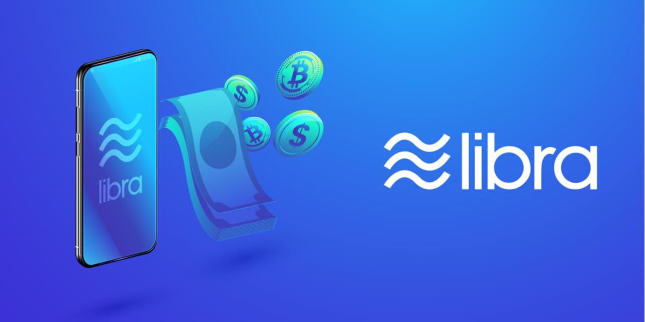 Libra Payment Plattform - Handy und Geld mit Libra Logo auf blauem Hintergrund