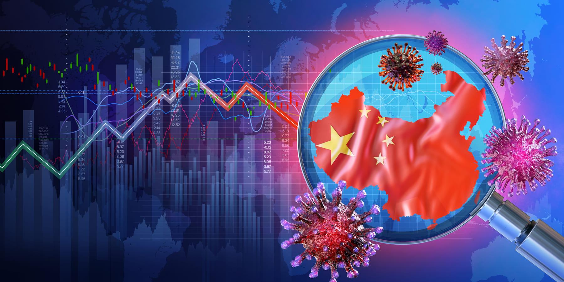 Baidu Corona Krise Herausforderung - Lupe auf chinesische Flagge mit Kursbewegung und Viren im Hintergrund