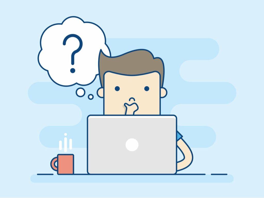 Wirecard Aktien-Anlagestrategie - Illustration - Junger Mann sitzt zweifelnd vor seinem Laptop