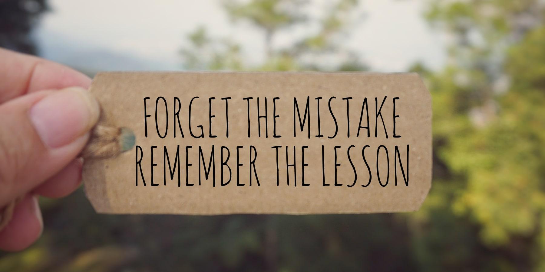 Wirecard Aktien Anlagestrategie - inspirierendes Zitat - Vergiss den Fehler, erinnere dich an die Lektion