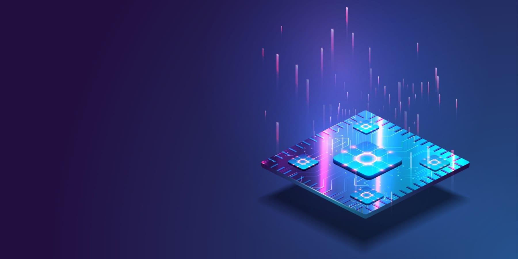 TSMC Aktie Wachstum trotz Corona Krise - Futuristischer Mikrochip mit Licht auf blauem Hintergrund
