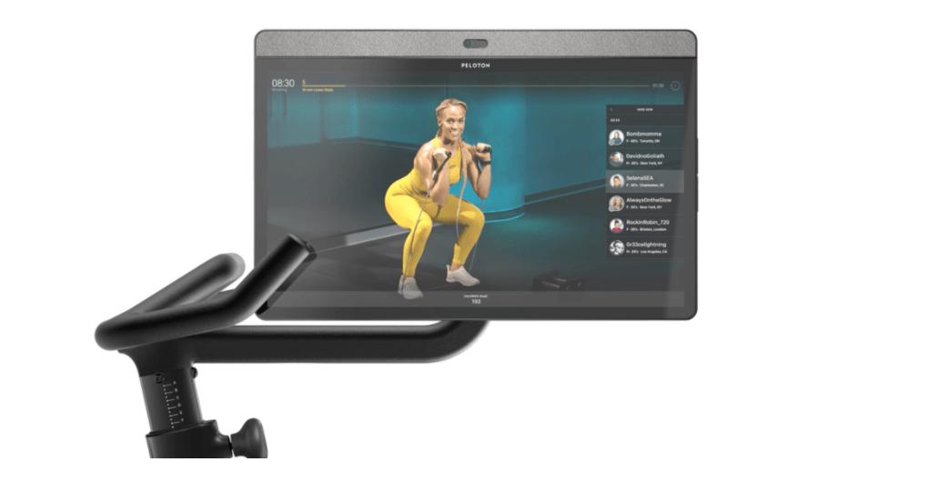 Bildschirm mit Peloton Fitnessübung
