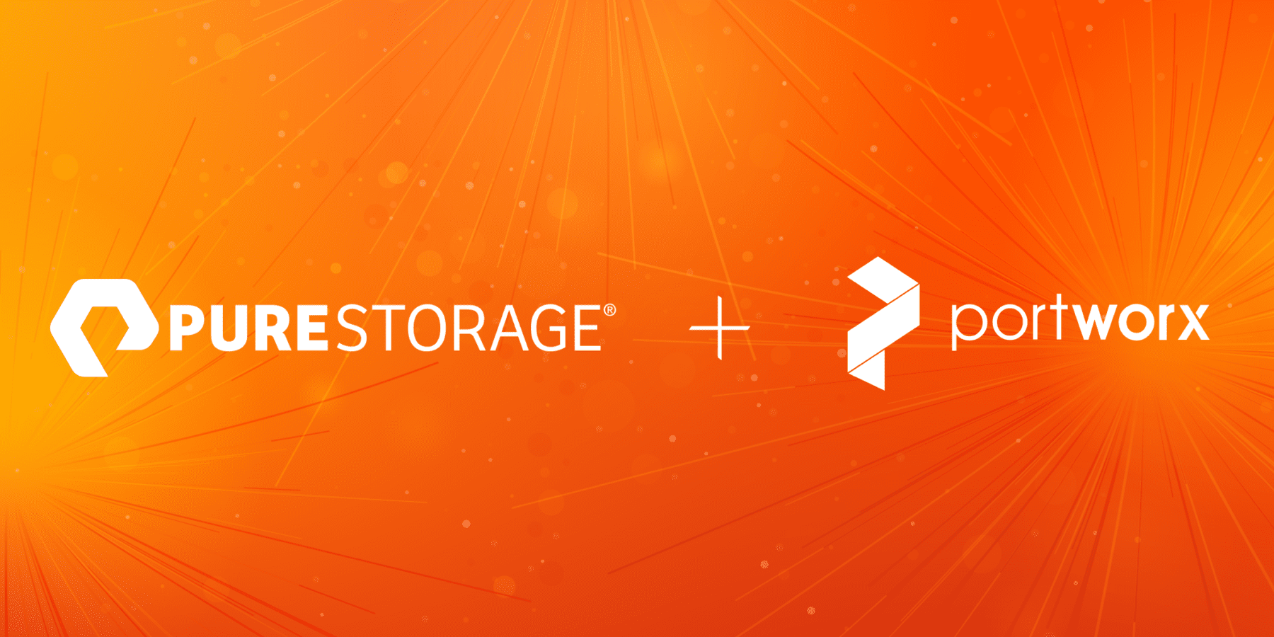 Pure Storage Übernahme von Portworx - Logo der beiden Unternehmen auf orangenem Hintergrund