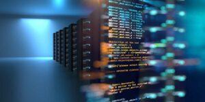 Arista Networks Aktie - 3D-Illustration im Serverraum mit Knotenbasis-Programmierung Datendesign