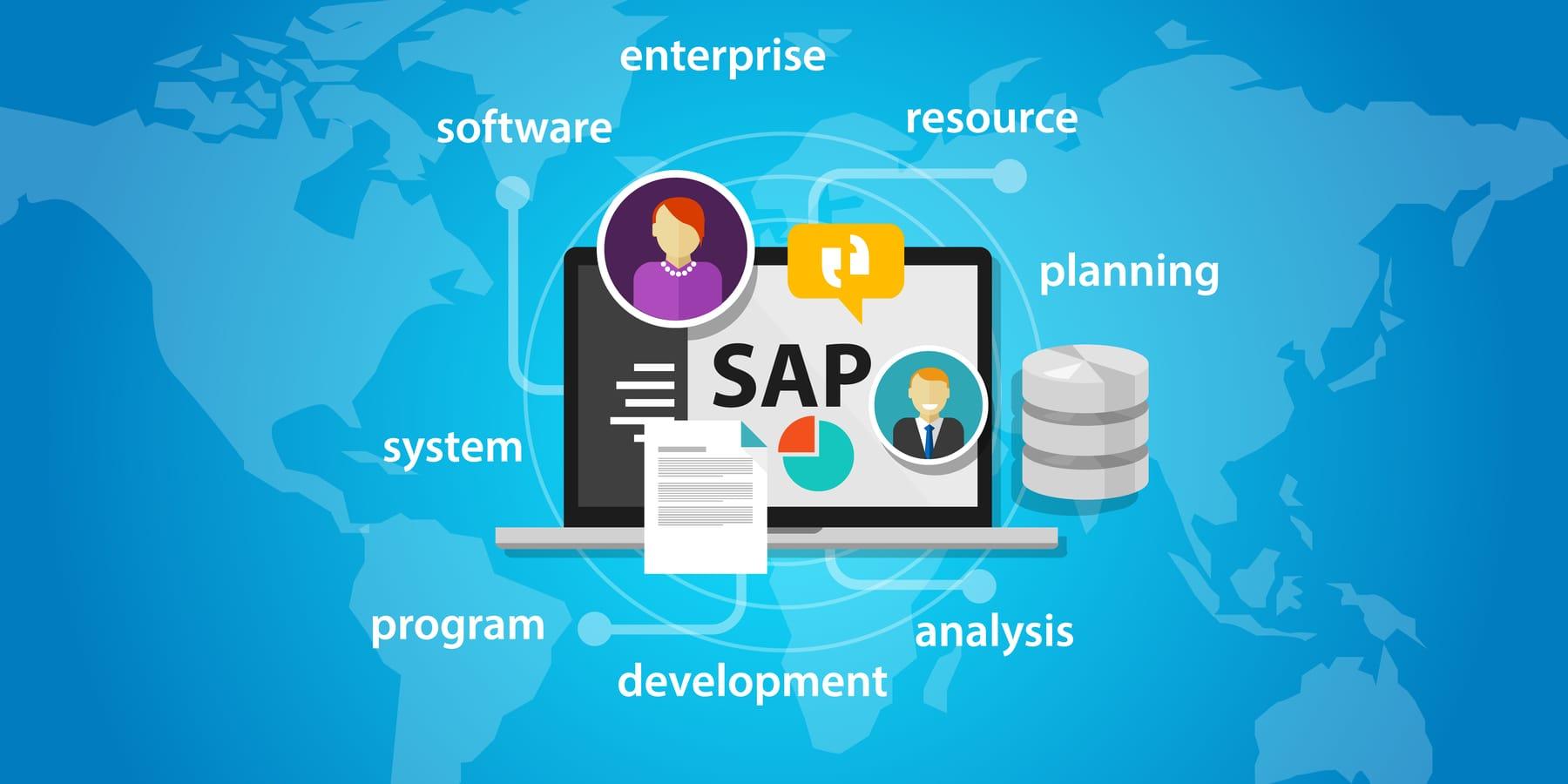 Crash der SAP Aktie - Bild zeigt SAP Schriftzug auf Laptop und Begriffe auf blauem Hintergrund