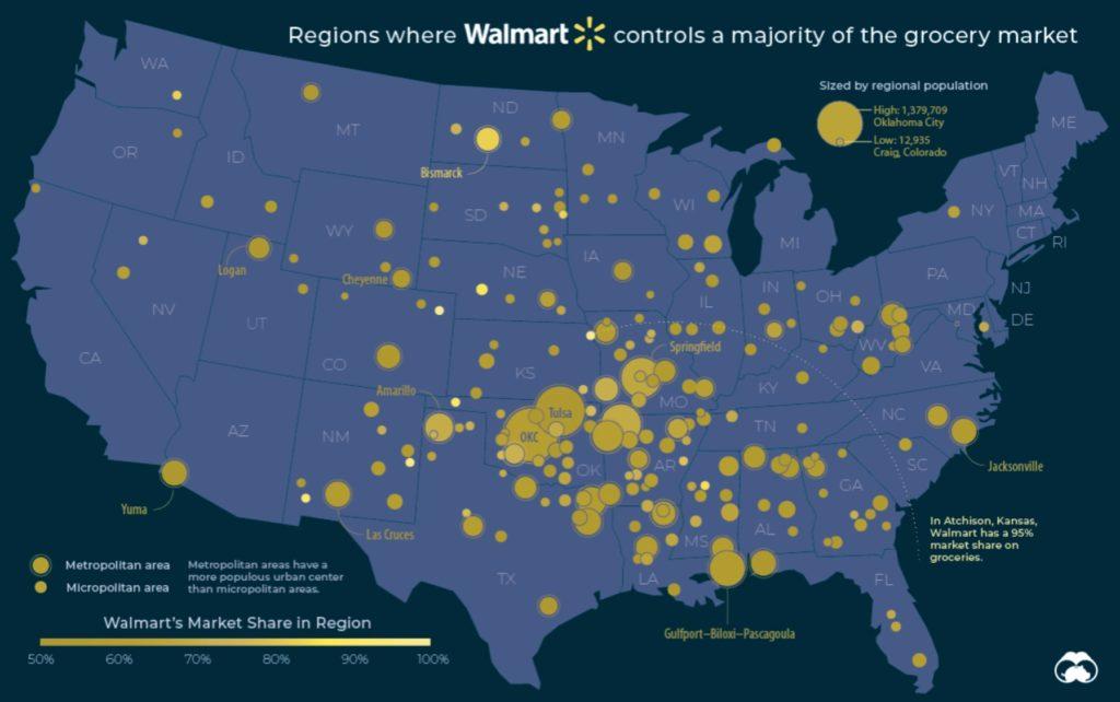 Orte an denen Walmart die Mehrheit des Lebensmittelmarktes kontrolliert