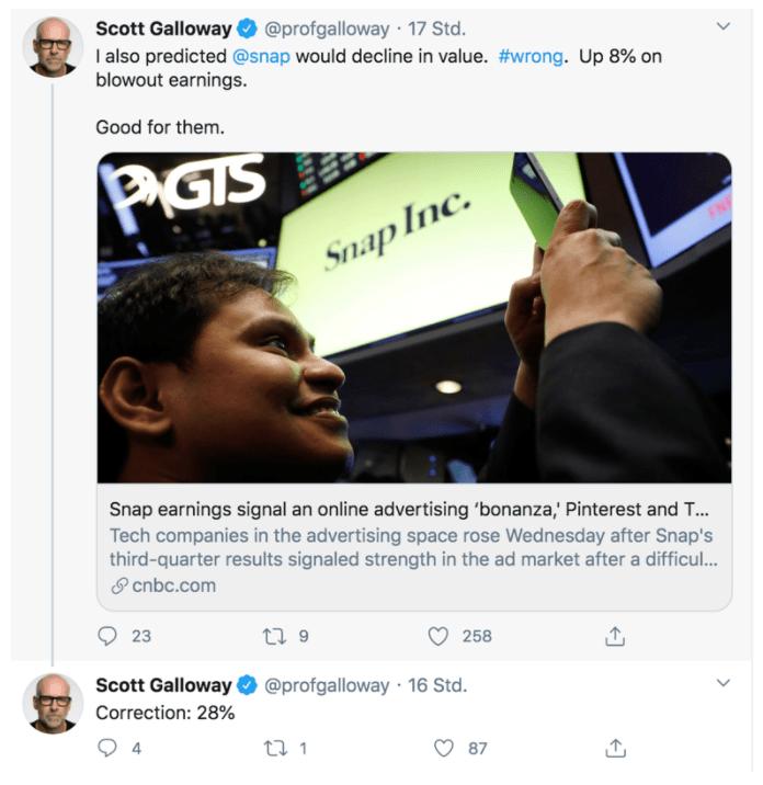 Scott Galloway Twitter Post Ausschnitt mit Kommentar zur Snap Aktie