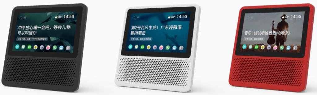 Baidu Xiaodu Smart-Speaker - Bild von drei Modellen in rot schwarz weiß