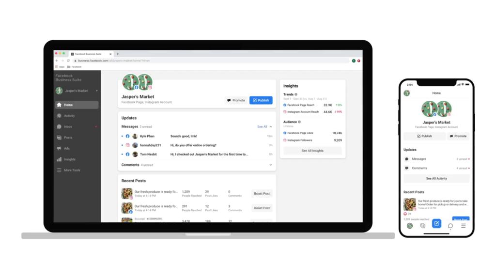 Facebook Business Suite Startseite und Überblick