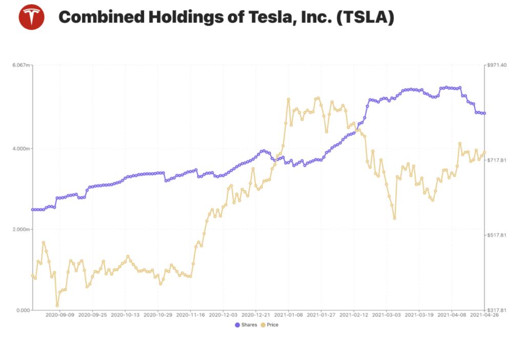 Tesla Aktie Holdings Chart